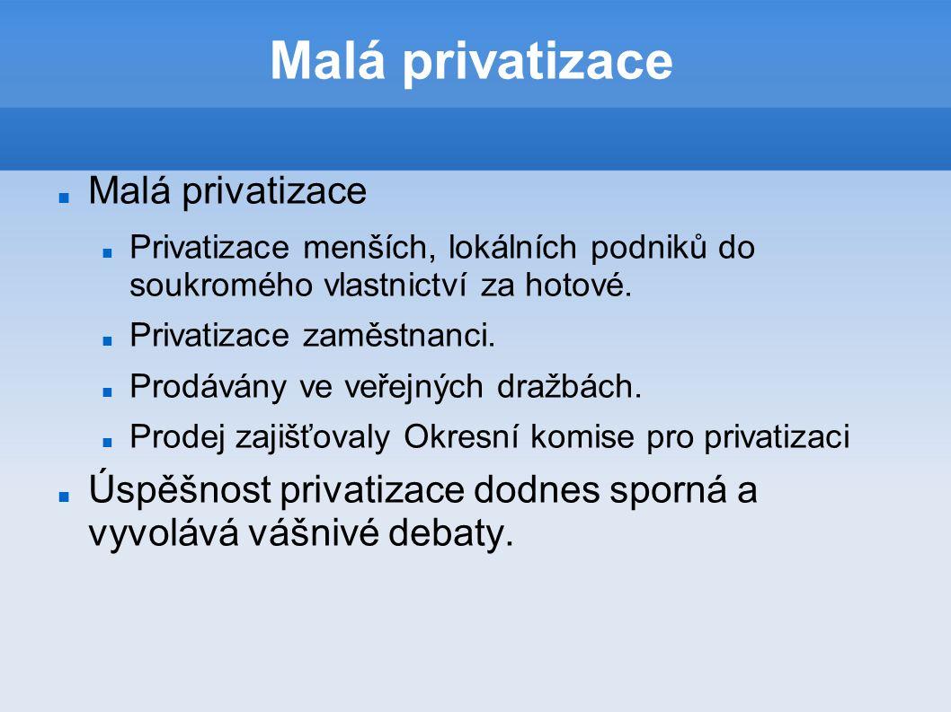 Malá privatizace Privatizace menších, lokálních podniků do soukromého vlastnictví za hotové.