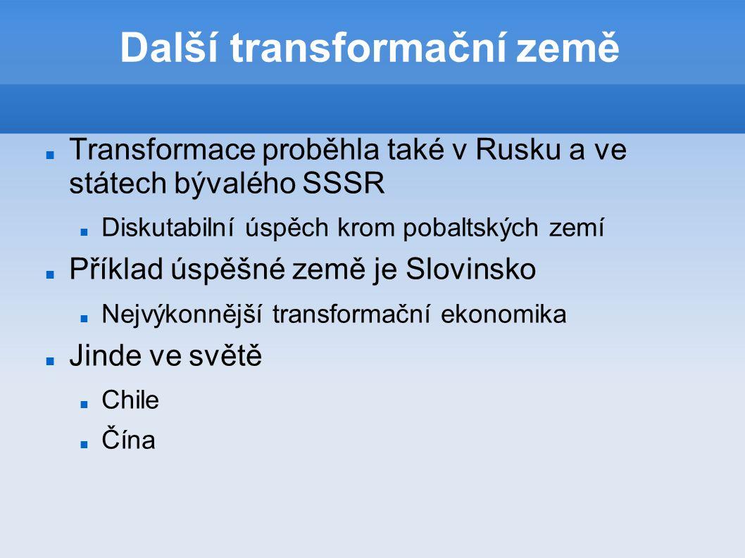 Další transformační země Transformace proběhla také v Rusku a ve státech bývalého SSSR Diskutabilní úspěch krom pobaltských zemí Příklad úspěšné země je Slovinsko Nejvýkonnější transformační ekonomika Jinde ve světě Chile Čína