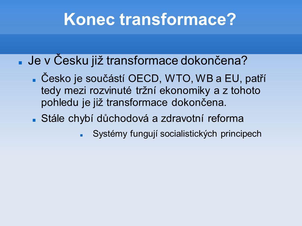 Konec transformace. Je v Česku již transformace dokončena.