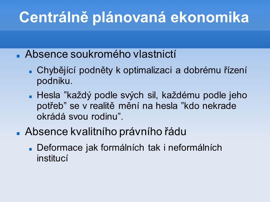 Centrálně plánovaná ekonomika Absence soukromého vlastnictí Chybějící podněty k optimalizaci a dobrému řízení podniku.