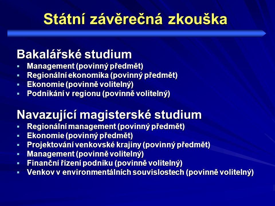 Státní závěrečná zkouška Bakalářské studium  Management (povinný předmět)  Regionální ekonomika (povinný předmět)  Ekonomie (povinně volitelný)  P