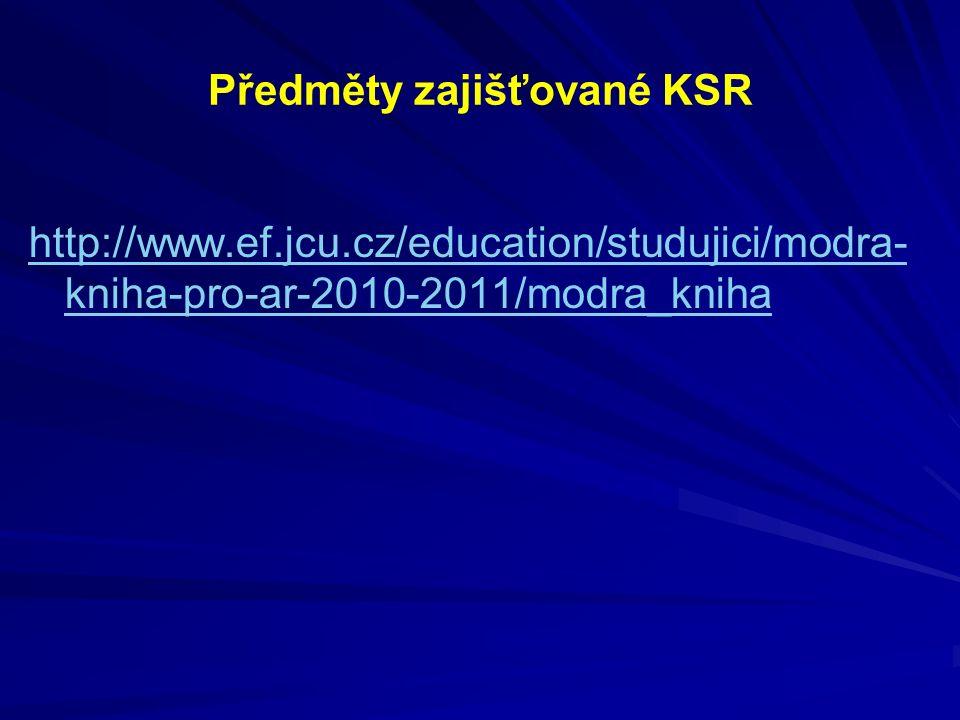 Předměty zajišťované KSR http://www.ef.jcu.cz/education/studujici/modra- kniha-pro-ar-2010-2011/modra_kniha