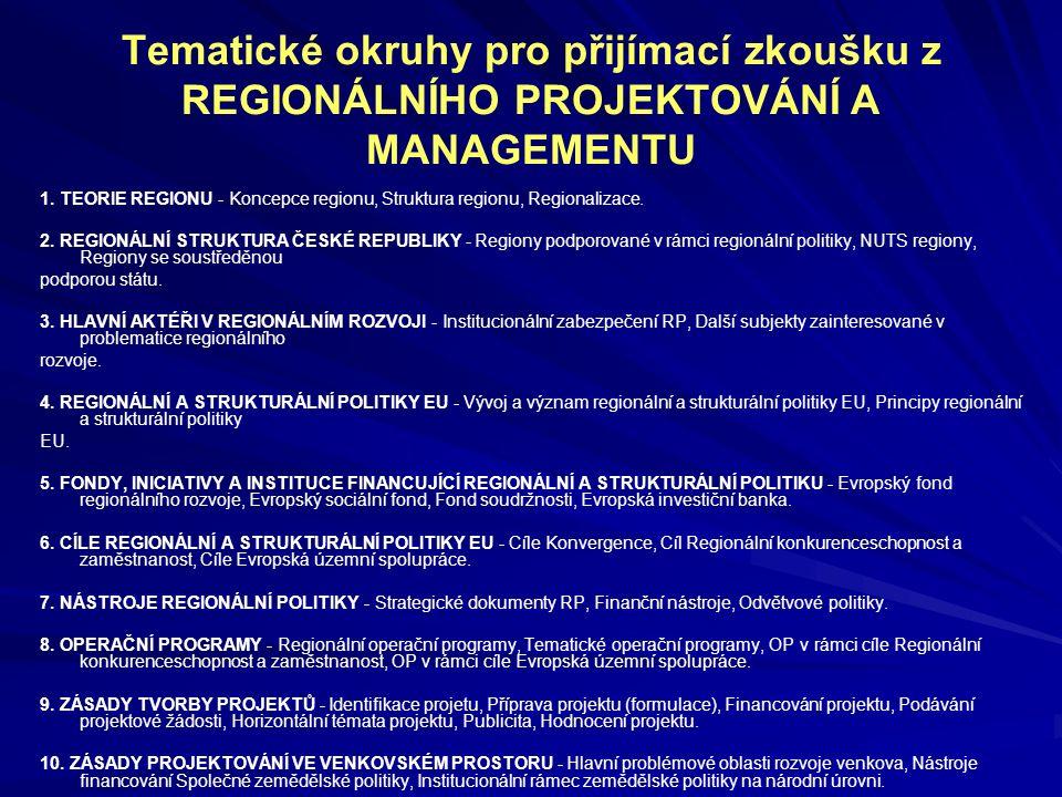 Tematické okruhy pro přijímací zkoušku z REGIONÁLNÍHO PROJEKTOVÁNÍ A MANAGEMENTU 1. TEORIE REGIONU - Koncepce regionu, Struktura regionu, Regionalizac