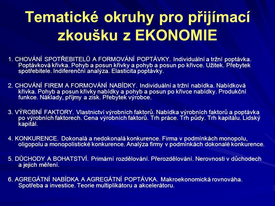 Tematické okruhy pro přijímací zkoušku z EKONOMIE 1. CHOVÁNÍ SPOTŘEBITELŮ A FORMOVÁNÍ POPTÁVKY. Individuální a tržní poptávka. Poptávková křivka. Pohy