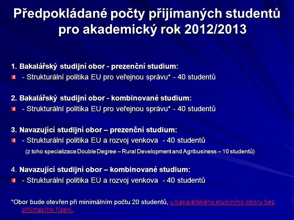 Předpokládané počty přijímaných studentů pro akademický rok 2012/2013 1. Bakalářský studijní obor - prezenční studium: - Strukturální politika EU pro