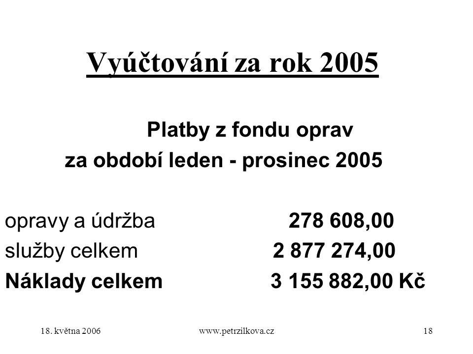 18. května 2006www.petrzilkova.cz18 Vyúčtování za rok 2005 Platby z fondu oprav za období leden - prosinec 2005 opravy a údržba278 608,00 služby celke