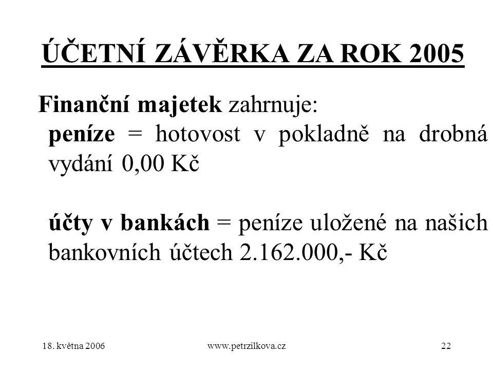 18. května 2006www.petrzilkova.cz22 ÚČETNÍ ZÁVĚRKA ZA ROK 2005 Finanční majetek zahrnuje: peníze = hotovost v pokladně na drobná vydání 0,00 Kč účty v
