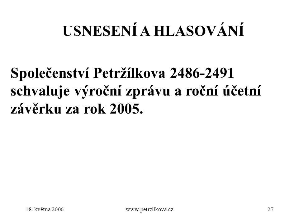 18. května 2006www.petrzilkova.cz27 USNESENÍ A HLASOVÁNÍ Společenství Petržílkova 2486-2491 schvaluje výroční zprávu a roční účetní závěrku za rok 200