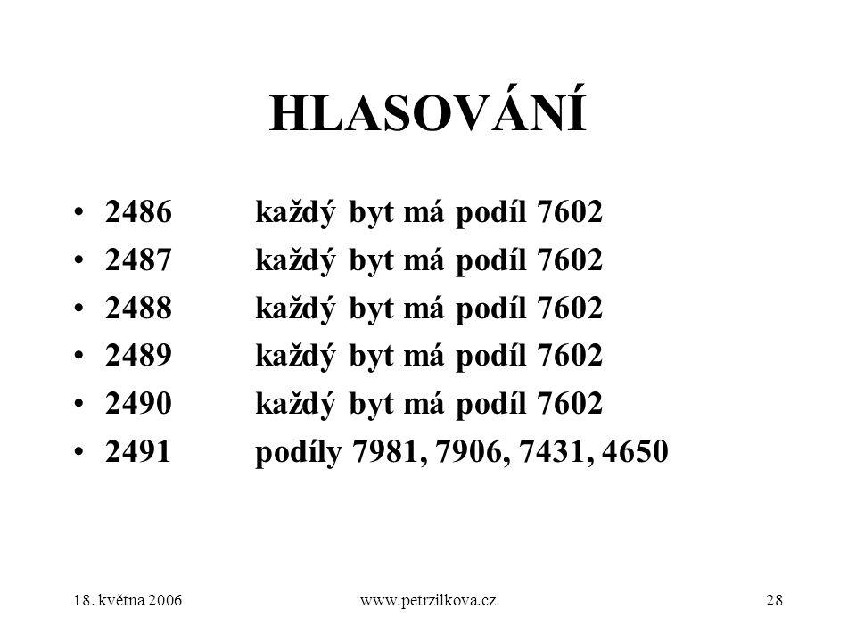 18. května 2006www.petrzilkova.cz28 HLASOVÁNÍ 2486 každý byt má podíl 7602 2487 každý byt má podíl 7602 2488 každý byt má podíl 7602 2489 každý byt má