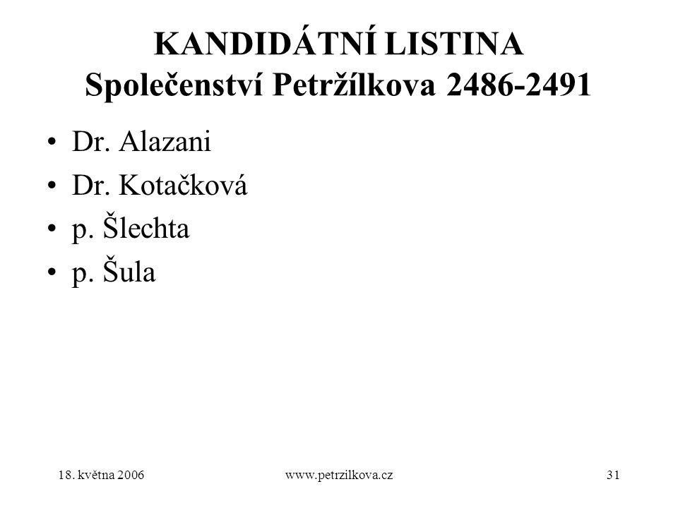 18. května 2006www.petrzilkova.cz31 KANDIDÁTNÍ LISTINA Společenství Petržílkova 2486-2491 Dr.