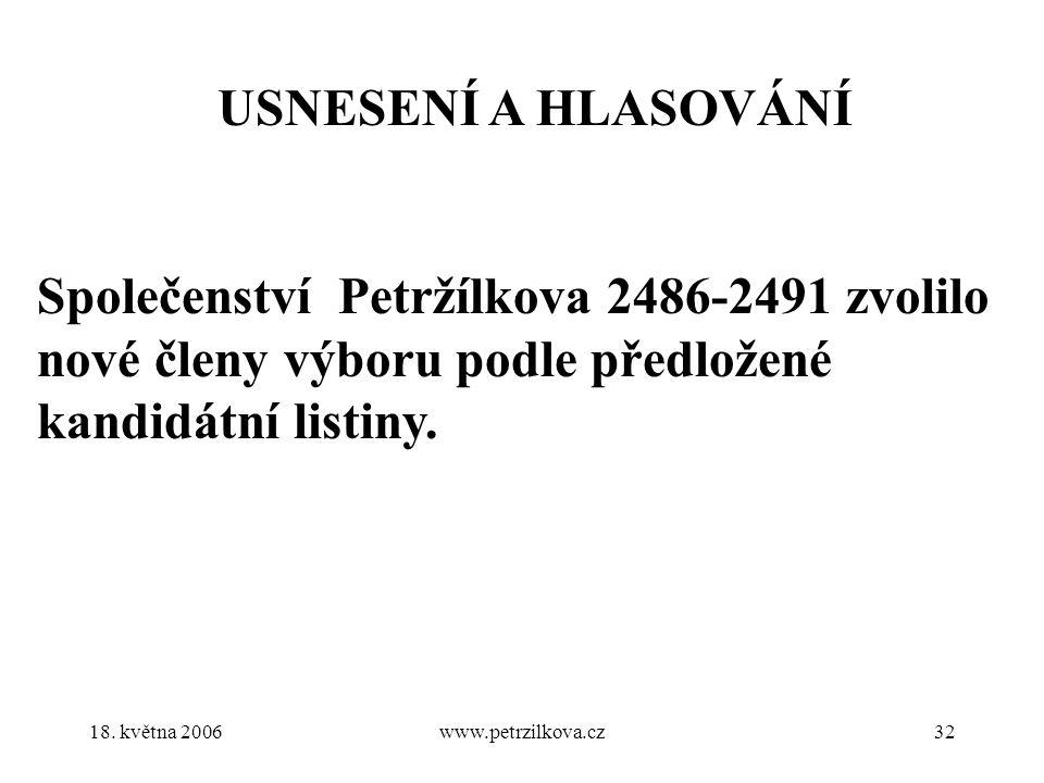 18. května 2006www.petrzilkova.cz32 USNESENÍ A HLASOVÁNÍ Společenství Petržílkova 2486-2491 zvolilo nové členy výboru podle předložené kandidátní list