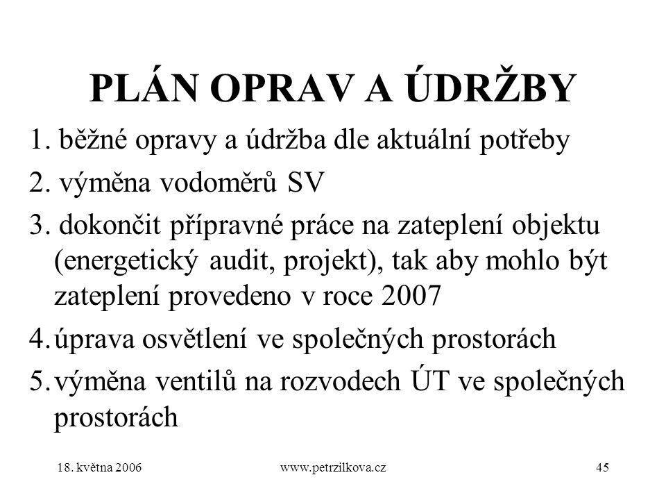 18. května 2006www.petrzilkova.cz45 PLÁN OPRAV A ÚDRŽBY 1.