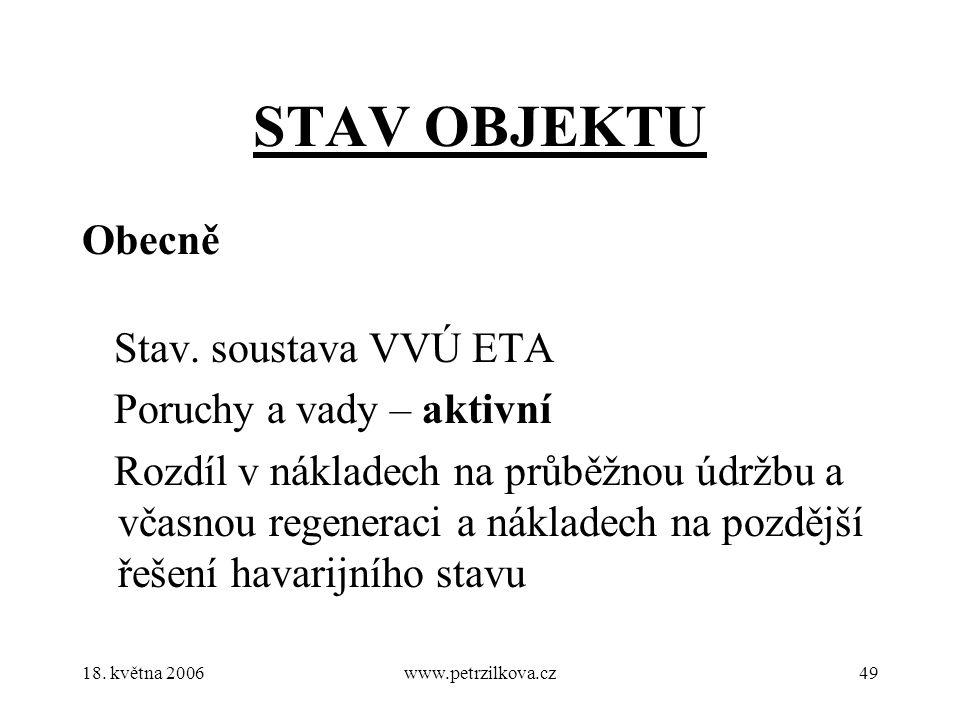 18. května 2006www.petrzilkova.cz49 STAV OBJEKTU Obecně Stav.