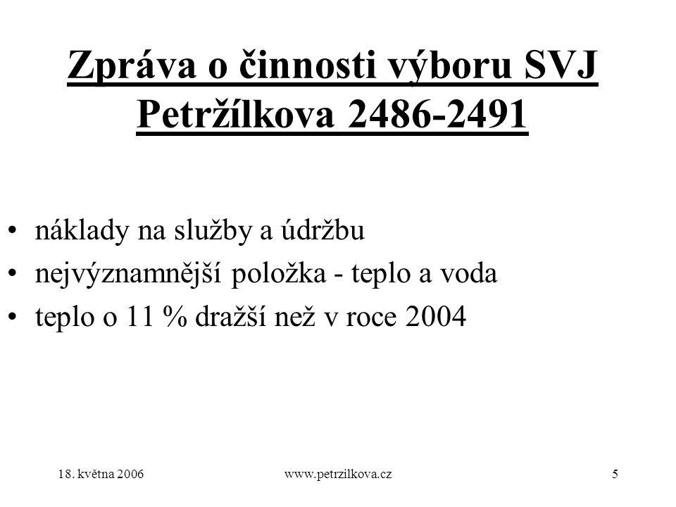 18. května 2006www.petrzilkova.cz5 Zpráva o činnosti výboru SVJ Petržílkova 2486-2491 náklady na služby a údržbu nejvýznamnější položka - teplo a voda