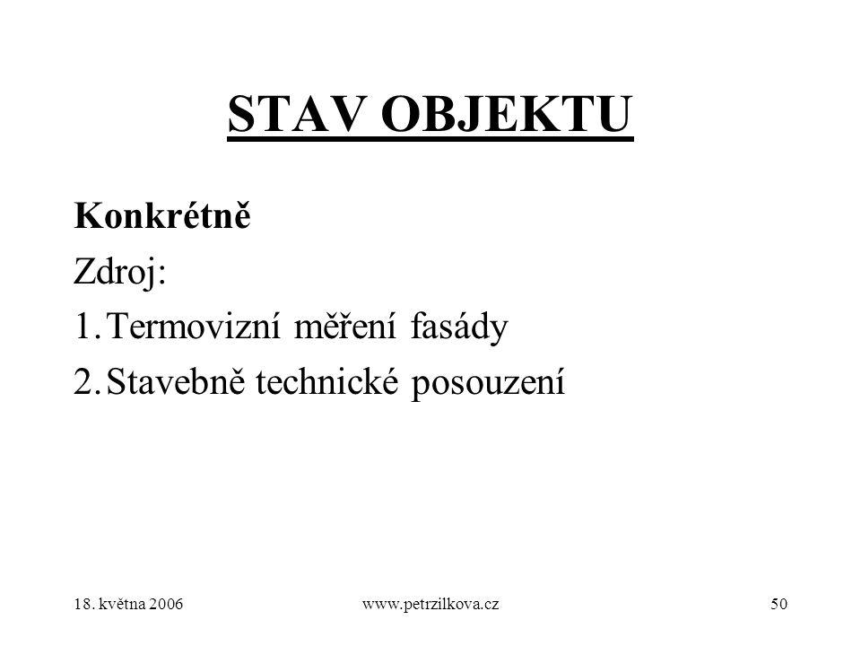 18. května 2006www.petrzilkova.cz50 STAV OBJEKTU Konkrétně Zdroj: 1.Termovizní měření fasády 2.Stavebně technické posouzení