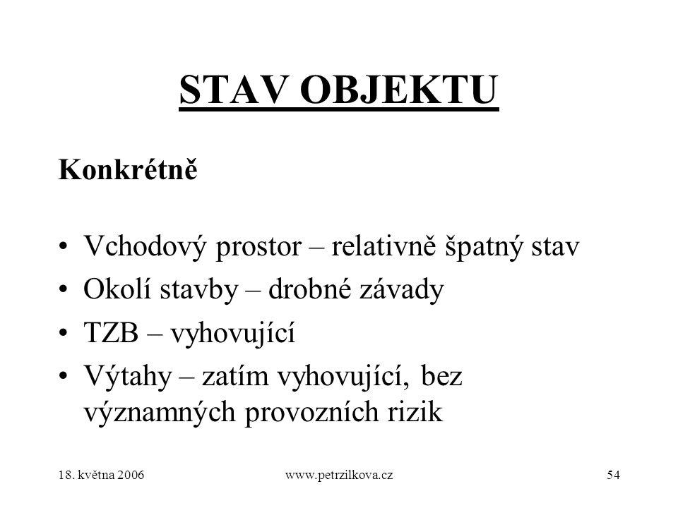18. května 2006www.petrzilkova.cz54 STAV OBJEKTU Konkrétně Vchodový prostor – relativně špatný stav Okolí stavby – drobné závady TZB – vyhovující Výta