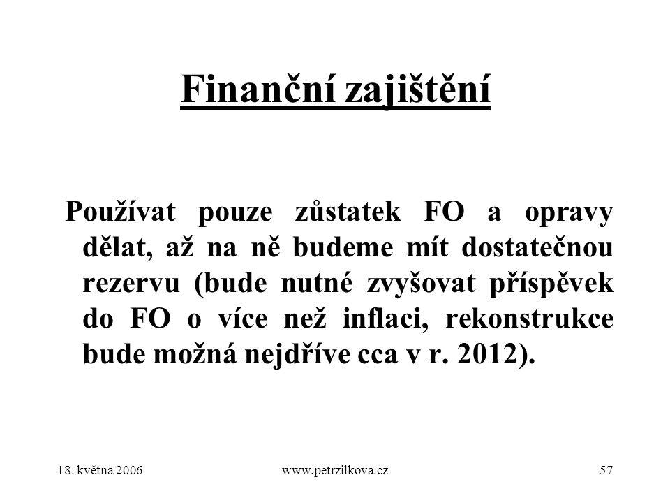 18. května 2006www.petrzilkova.cz57 Finanční zajištění Používat pouze zůstatek FO a opravy dělat, až na ně budeme mít dostatečnou rezervu (bude nutné