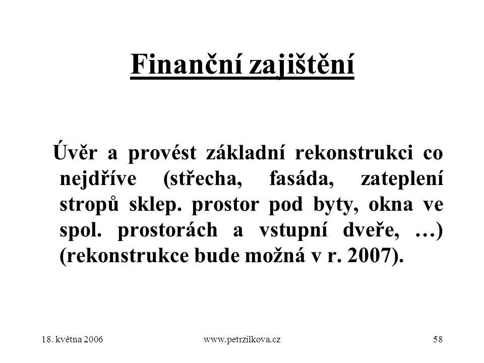 18. května 2006www.petrzilkova.cz58 Finanční zajištění Úvěr a provést základní rekonstrukci co nejdříve (střecha, fasáda, zateplení stropů sklep. pros