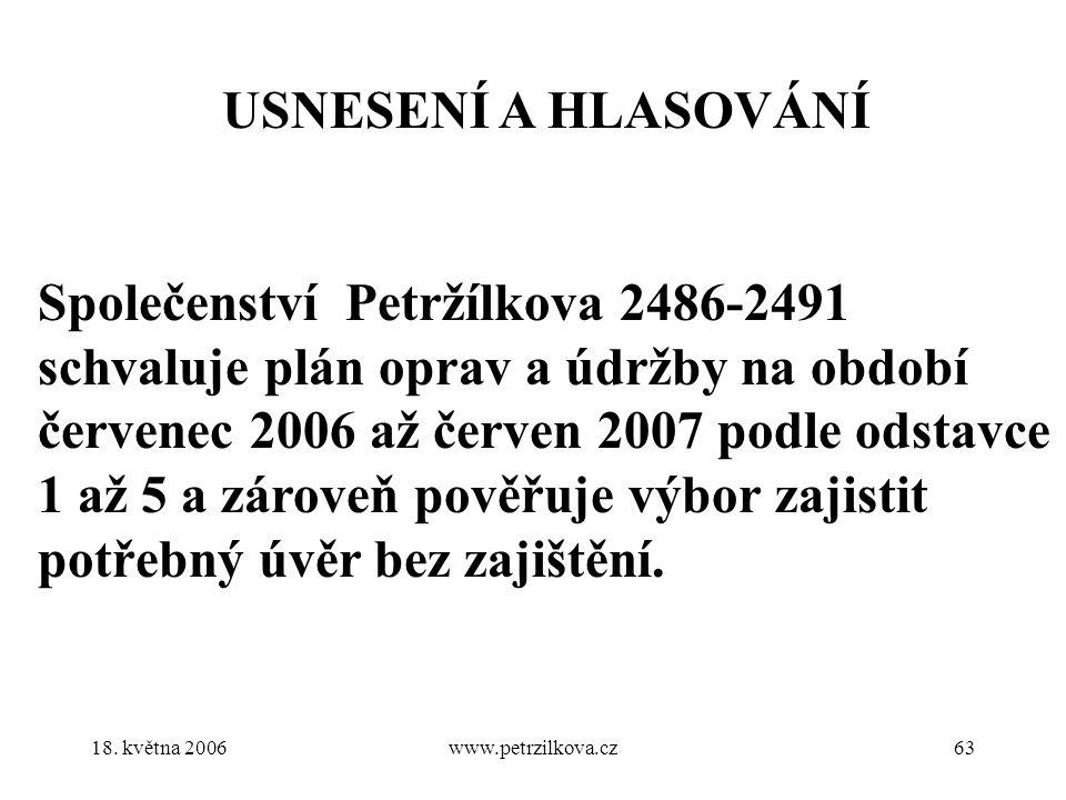 18. května 2006www.petrzilkova.cz63 USNESENÍ A HLASOVÁNÍ Společenství Petržílkova 2486-2491 schvaluje plán oprav a údržby na období červenec 2006 až č