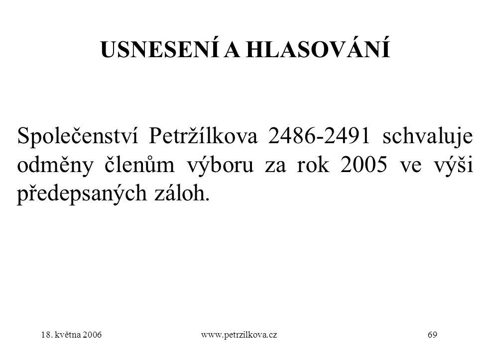 18. května 2006www.petrzilkova.cz69 USNESENÍ A HLASOVÁNÍ Společenství Petržílkova 2486-2491 schvaluje odměny členům výboru za rok 2005 ve výši předeps