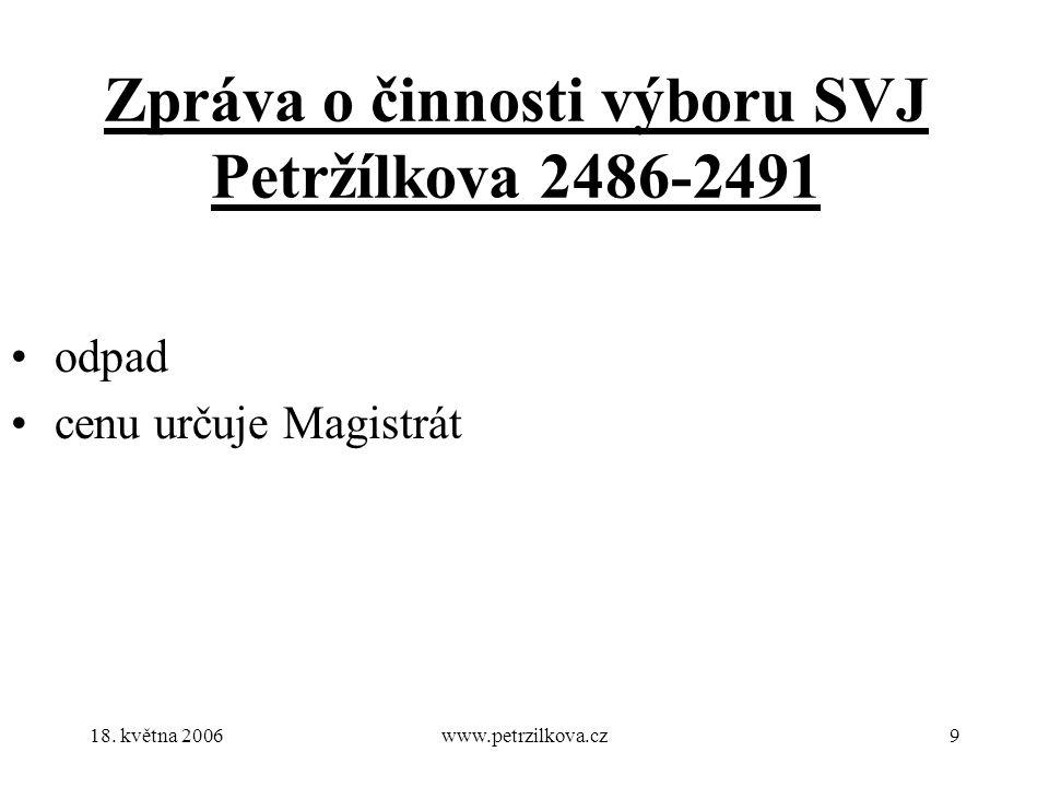 18. května 2006www.petrzilkova.cz9 Zpráva o činnosti výboru SVJ Petržílkova 2486-2491 odpad cenu určuje Magistrát