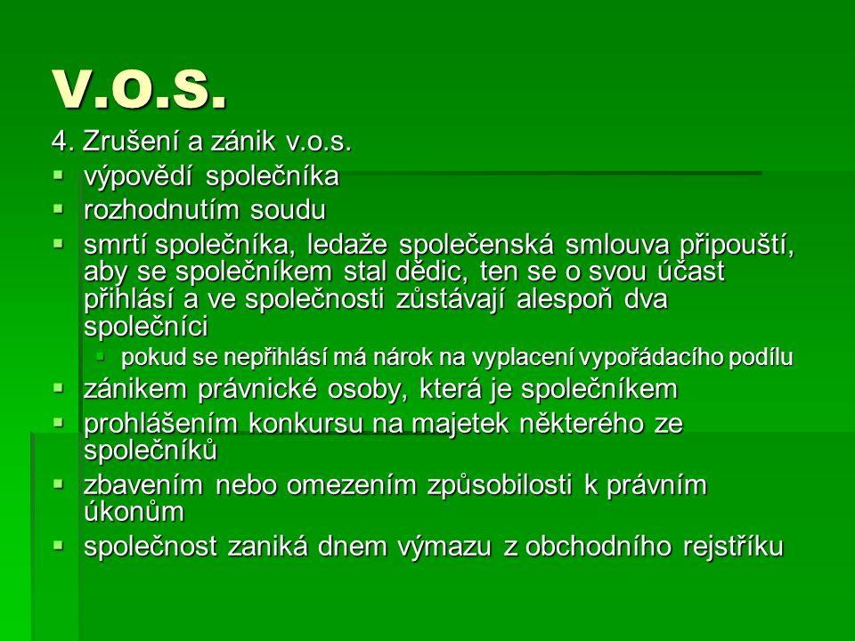 V.O.S. 4. Zrušení a zánik v.o.s.