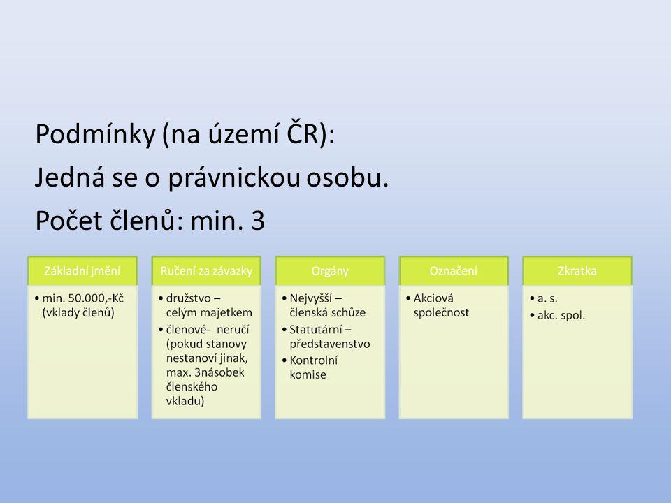 Podmínky (na území ČR): Jedná se o právnickou osobu. Počet členů: min. 3