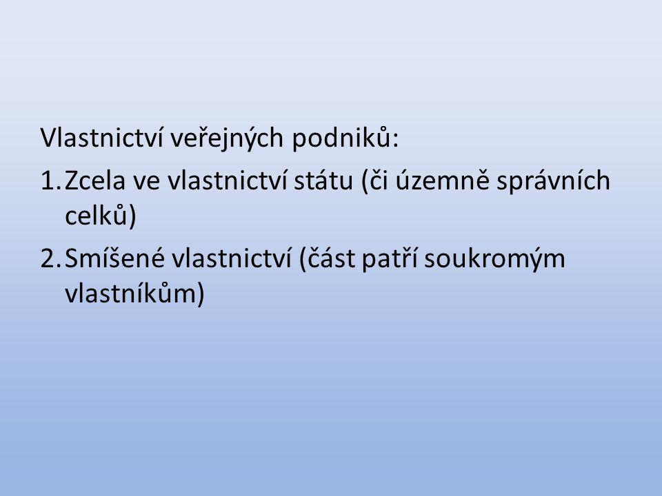 Vlastnictví veřejných podniků: 1.Zcela ve vlastnictví státu (či územně správních celků) 2.Smíšené vlastnictví (část patří soukromým vlastníkům)