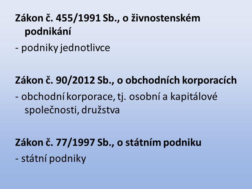 Zákon č. 455/1991 Sb., o živnostenském podnikání - podniky jednotlivce Zákon č. 90/2012 Sb., o obchodních korporacích - obchodní korporace, tj. osobní