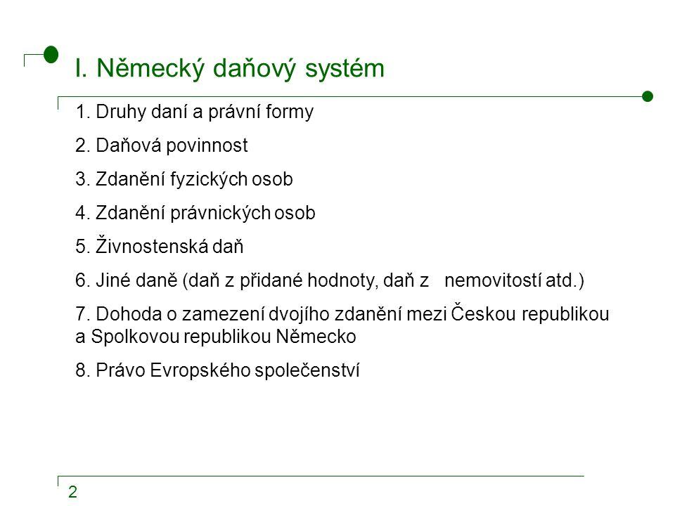 2 I. Německý daňový systém 1. Druhy daní a právní formy 2.