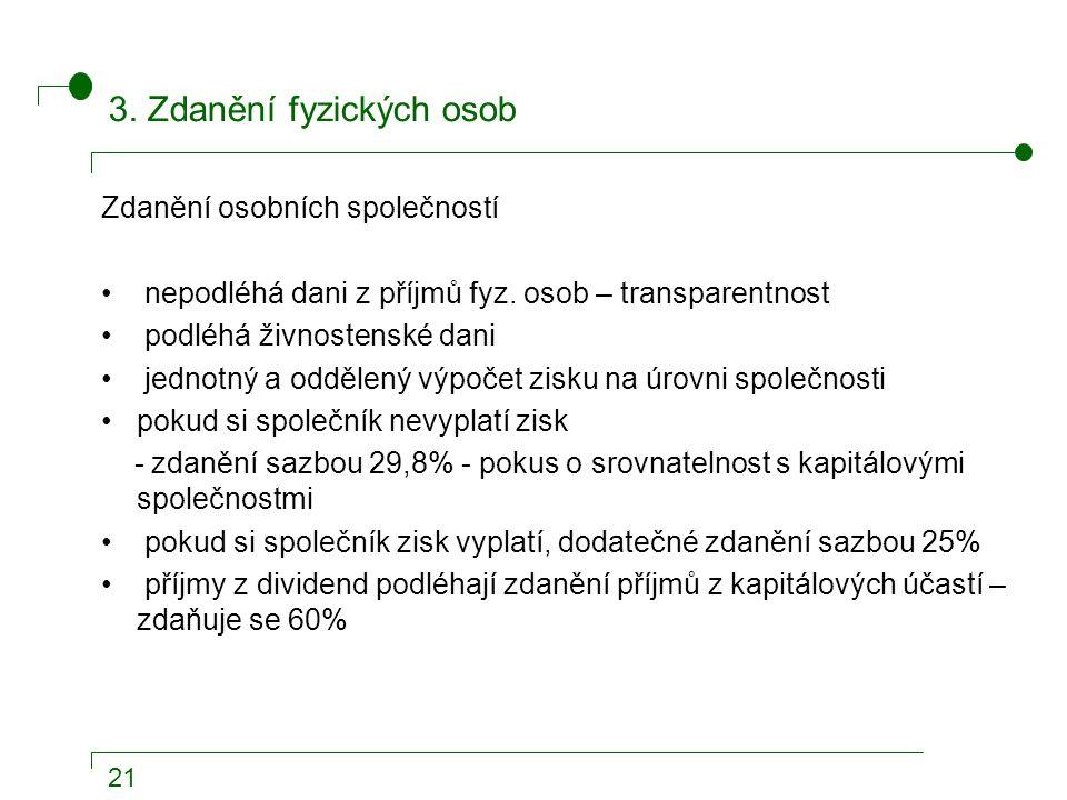 21 3. Zdanění fyzických osob Zdanění osobních společností nepodléhá dani z příjmů fyz.