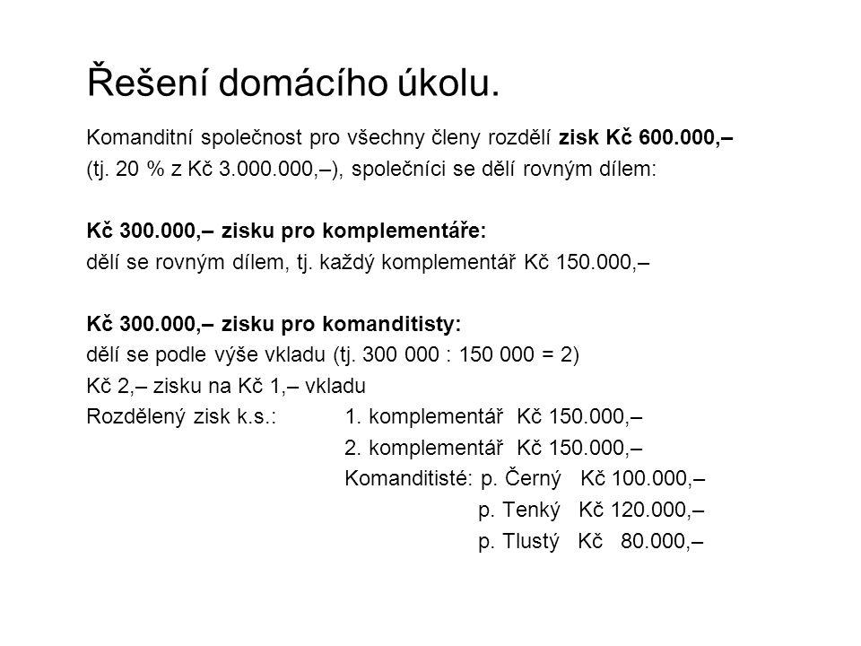 Řešení domácího úkolu. Komanditní společnost pro všechny členy rozdělí zisk Kč 600.000,– (tj. 20 % z Kč 3.000.000,–), společníci se dělí rovným dílem:
