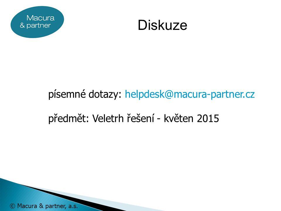 © Macura & partner, a.s. písemné dotazy: helpdesk@macura-partner.cz předmět: Veletrh řešení - květen 2015 Diskuze