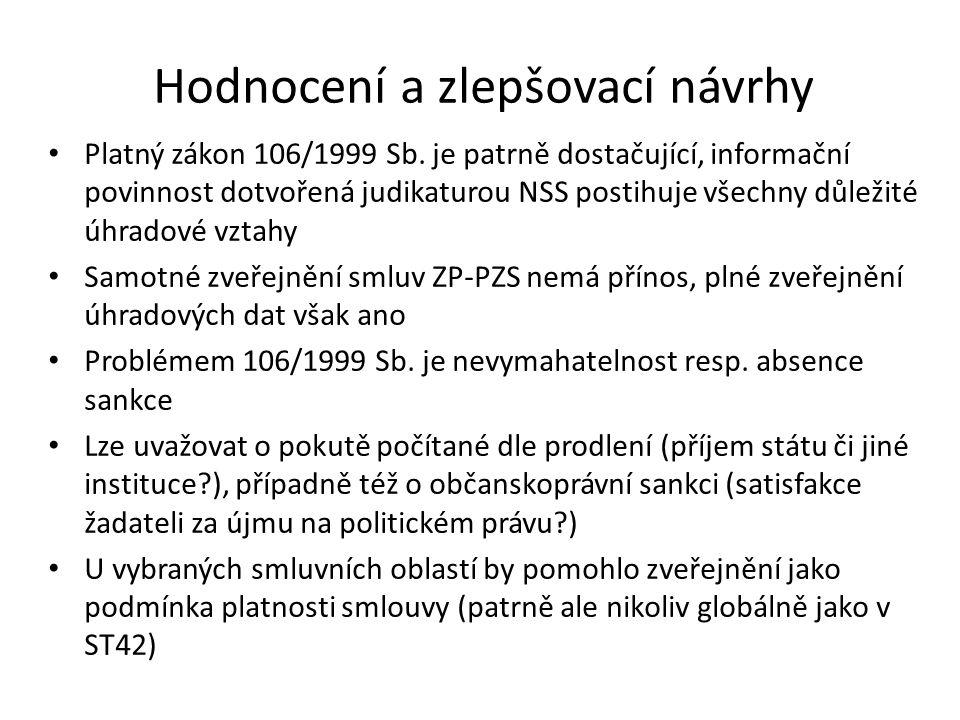 Hodnocení a zlepšovací návrhy Platný zákon 106/1999 Sb. je patrně dostačující, informační povinnost dotvořená judikaturou NSS postihuje všechny důleži