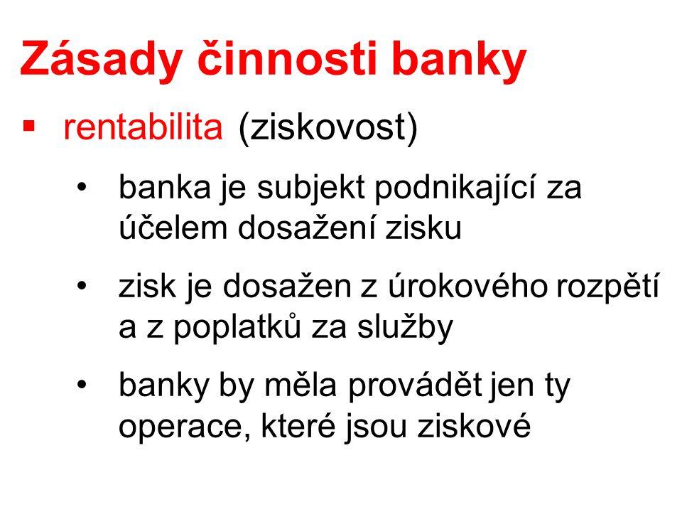 Zásady činnosti banky  rentabilita (ziskovost) banka je subjekt podnikající za účelem dosažení zisku zisk je dosažen z úrokového rozpětí a z poplatků za služby banky by měla provádět jen ty operace, které jsou ziskové