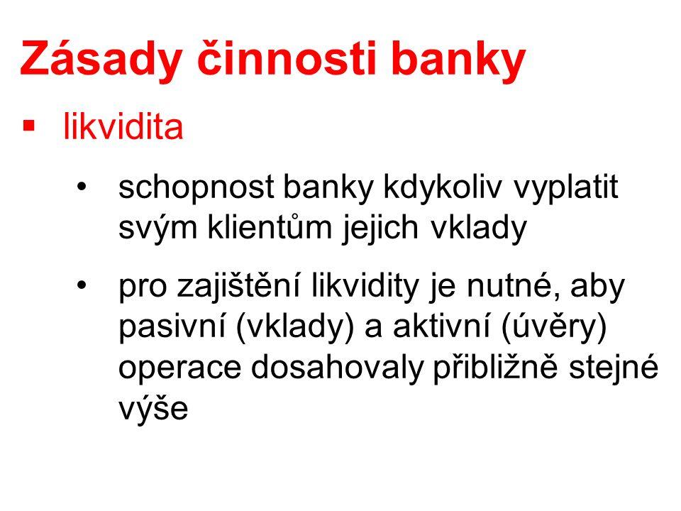 Zásady činnosti banky  likvidita schopnost banky kdykoliv vyplatit svým klientům jejich vklady pro zajištění likvidity je nutné, aby pasivní (vklady) a aktivní (úvěry) operace dosahovaly přibližně stejné výše