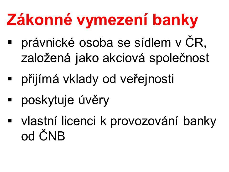Zákonné vymezení banky  právnické osoba se sídlem v ČR, založená jako akciová společnost  přijímá vklady od veřejnosti  poskytuje úvěry  vlastní licenci k provozování banky od ČNB