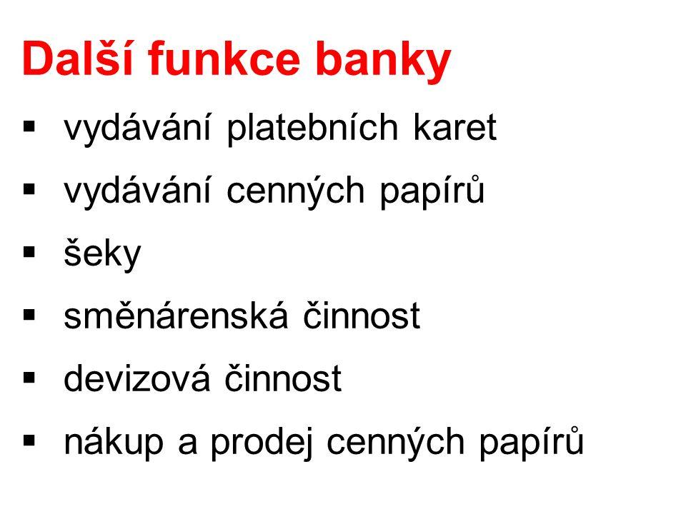 Další funkce banky  vydávání platebních karet  vydávání cenných papírů  šeky  směnárenská činnost  devizová činnost  nákup a prodej cenných papírů