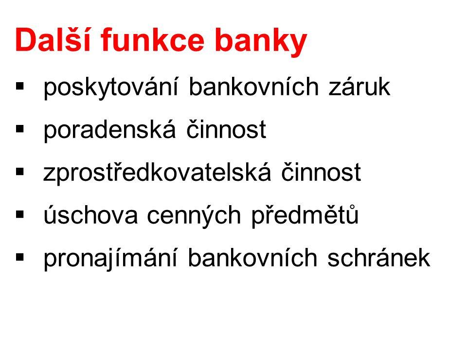 Další funkce banky  poskytování bankovních záruk  poradenská činnost  zprostředkovatelská činnost  úschova cenných předmětů  pronajímání bankovních schránek