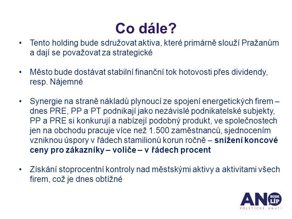 Tento holding bude sdružovat aktiva, které primárně slouží Pražanům a dají se považovat za strategické Město bude dostávat stabilní finanční tok hotovosti přes dividendy, resp.