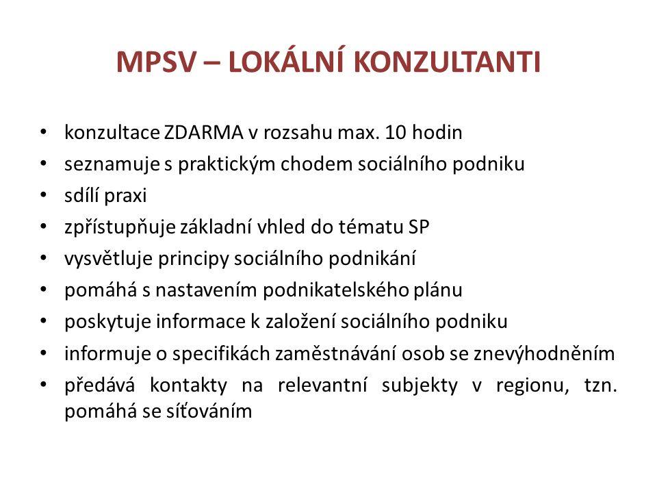 MPSV – LOKÁLNÍ KONZULTANTI konzultace ZDARMA v rozsahu max.