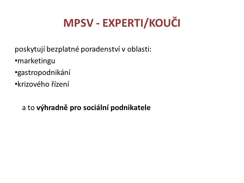 MPSV - EXPERTI/KOUČI poskytují bezplatné poradenství v oblasti: marketingu gastropodnikání krizového řízení a to výhradně pro sociální podnikatele
