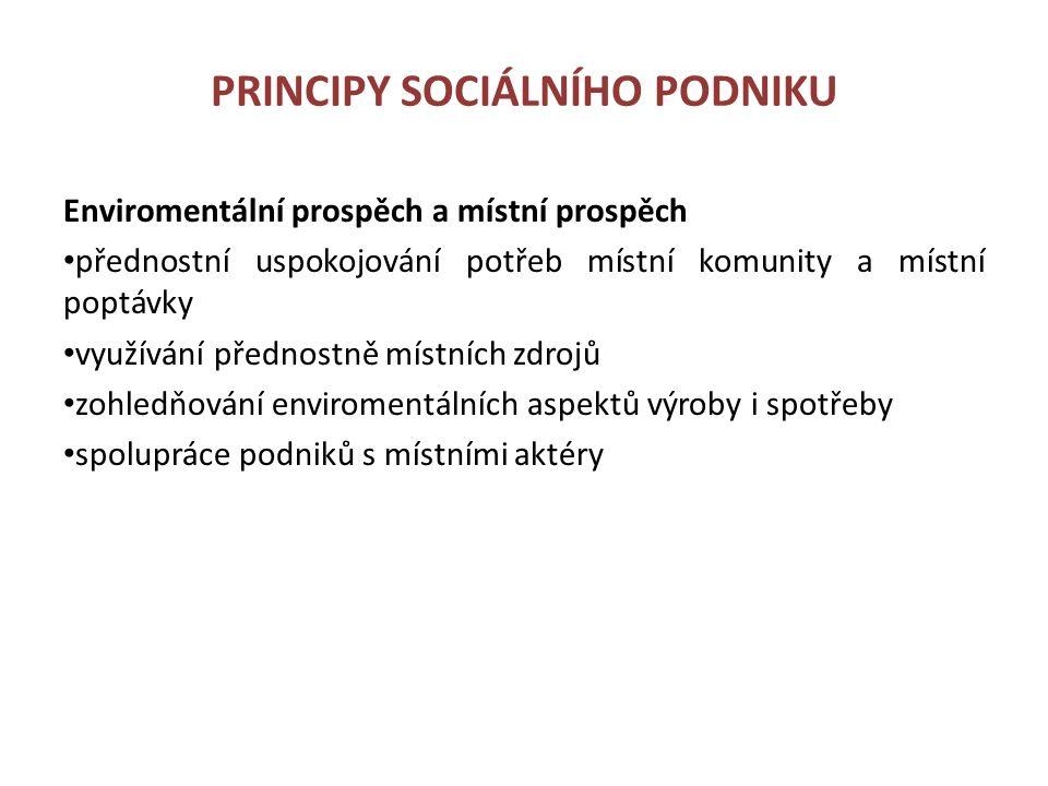 PRINCIPY SOCIÁLNÍHO PODNIKU Enviromentální prospěch a místní prospěch přednostní uspokojování potřeb místní komunity a místní poptávky využívání předn