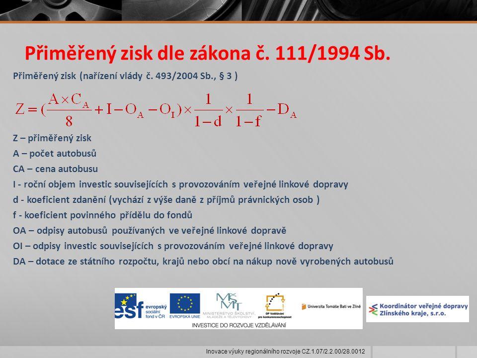 Přiměřený zisk dle zákona č. 111/1994 Sb. Přiměřený zisk (nařízení vlády č.