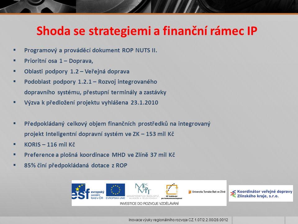 Shoda se strategiemi a finanční rámec IP  Programový a prováděcí dokument ROP NUTS II.