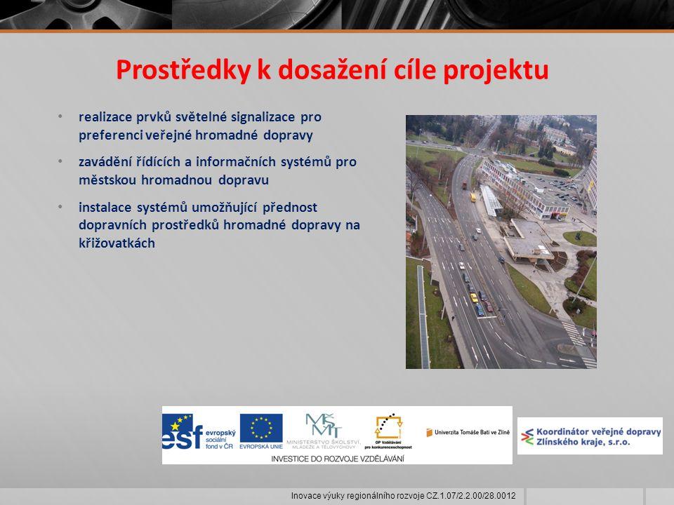 Prostředky k dosažení cíle projektu realizace prvků světelné signalizace pro preferenci veřejné hromadné dopravy zavádění řídících a informačních systémů pro městskou hromadnou dopravu instalace systémů umožňující přednost dopravních prostředků hromadné dopravy na křižovatkách Inovace výuky regionálního rozvoje CZ.1.07/2.2.00/28.0012
