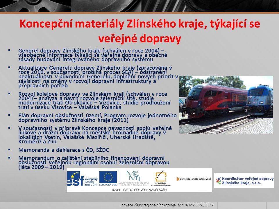 Koncepční materiály Zlínského kraje, týkající se veřejné dopravy  Generel dopravy Zlínského kraje (schválen v roce 2004) – všeobecné informace týkající se veřejné dopravy a obecné zásady budování integrovaného dopravního systému  Aktualizace Generelu dopravy Zlínského kraje (zpracována v roce 2010, v současnosti probíhá proces SEA) – odstranění neaktuálností v původním Generelu, doplnění nových priorit v závislosti na změny v rozvoji dopravní infrastruktury a přepravních potřeb  Rozvoj kolejové dopravy ve Zlínském kraji (schválen v roce 2004) – analýza a návrh rozvoje železniční sítě, studie modernizace trati Otrokovice – Vizovice, studie prodloužení trati v úseku Vizovice – Valašská Polanka  Plán dopravní obslužnosti území, Program rozvoje jednotného dopravního systému Zlínského kraje (2011)  V současnosti v přípravě Koncepce návaznosti spojů veřejné linkové a drážní dopravy na městské hromadné dopravy v lokalitách Vsetín, Valašské Meziříčí, Uherské Hradiště, Kroměříž a Zlín  Memoranda a deklarace s ČD, SŽDC  Memorandum o zajištění stabilního financování dopravní obslužnosti veřejnou regionální osobní železniční dopravou (léta 2009 – 2019) Inovace výuky regionálního rozvoje CZ.1.07/2.2.00/28.0012