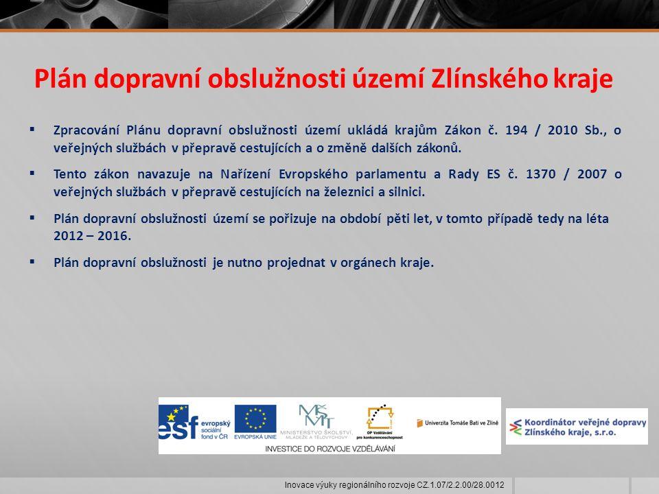 Plán dopravní obslužnosti území Zlínského kraje  Zpracování Plánu dopravní obslužnosti území ukládá krajům Zákon č.