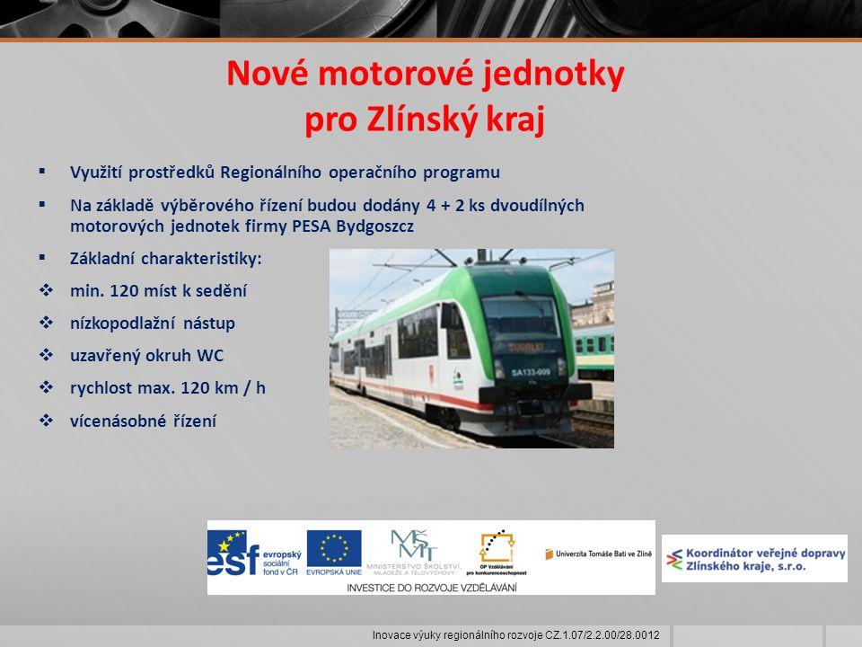 Nové motorové jednotky pro Zlínský kraj  Využití prostředků Regionálního operačního programu  Na základě výběrového řízení budou dodány 4 + 2 ks dvoudílných motorových jednotek firmy PESA Bydgoszcz  Základní charakteristiky:  min.