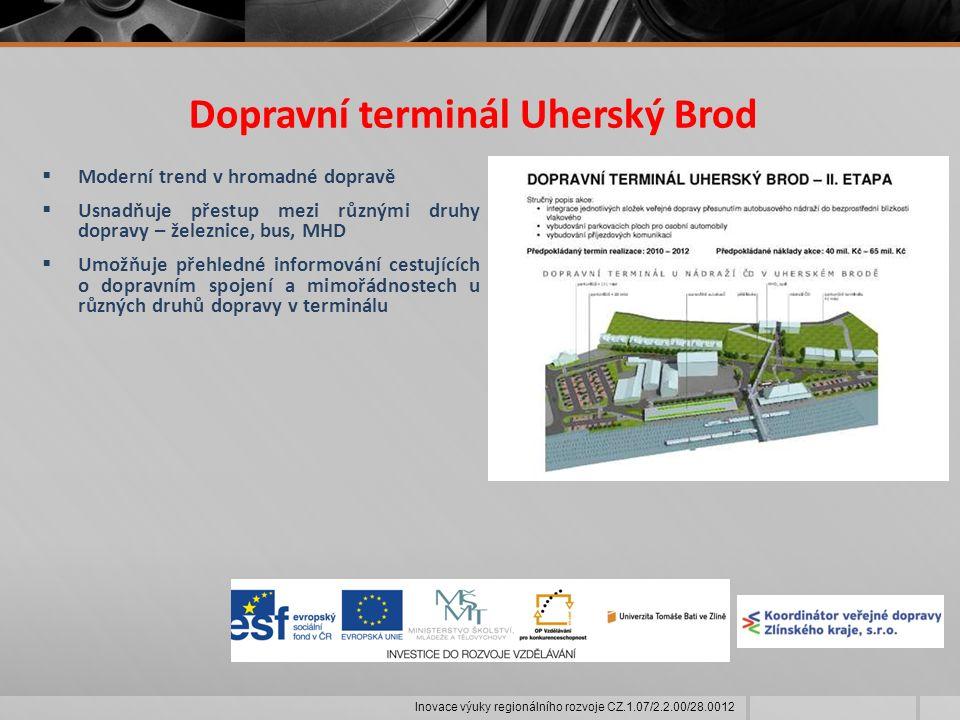 Dopravní terminál Uherský Brod  Moderní trend v hromadné dopravě  Usnadňuje přestup mezi různými druhy dopravy – železnice, bus, MHD  Umožňuje přehledné informování cestujících o dopravním spojení a mimořádnostech u různých druhů dopravy v terminálu Inovace výuky regionálního rozvoje CZ.1.07/2.2.00/28.0012